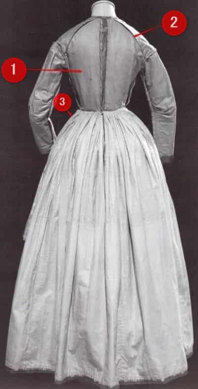 日中用ドレス 1840年 裏 後ろ姿